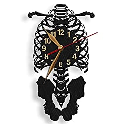 monastar Human Skeleton Wall Clock -Select Size- Wood Big Large Faculty of Medicine Med Student Anatomist Gift Bones Wooden Wall Art Décor