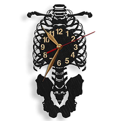 monastar Human Skeleton Wall Clock -Select Size- Wood Big Large Faculty of Medicine Med Student Anatomist Gift Bones Wooden Wall Art Décor
