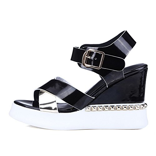 Amoonyfashion Donna Tacco Alto In Vernice Con Fibbia Assortita Colore Sandali Open Toe Nero