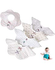 5Pcs Baby Bibs-360° Rotate Bib for Baby Girl Anti-Stain and Odor Resistant, Breathable, Neck Baby Bibs Drool for Girls Absorbent Cotton Bib