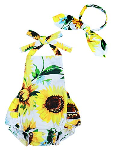 Yoveme Infant Baby Girl Clothes Cute Floral Print Ruffles Romper Summer Clothes + Headband (C-Yellow, 6-12 Months)