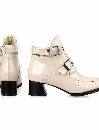 NJX/ Damenschuhe-High Heels / Stiefel-Kleid / Lässig-Kunstleder-Blockabsatz-Absätze / Stifelette / Spitzschuh-Schwarz / Rosa / Beige black-us7.5 / eu38 / uk5.5 / cn38