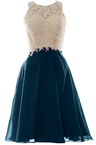 Neck Dress Lace Short Prom Teal High MACloth Ball Party Women Chiffon Formal Gown FqExX0