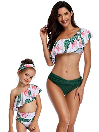 Kaei&Shi Mother Daughter Family Matching Leaf Print Swimsuits,One Shoulder Bathing Suit,Flounce Bikini Set,Ruched High Waisted Swimwear for Girl Green Medium ()
