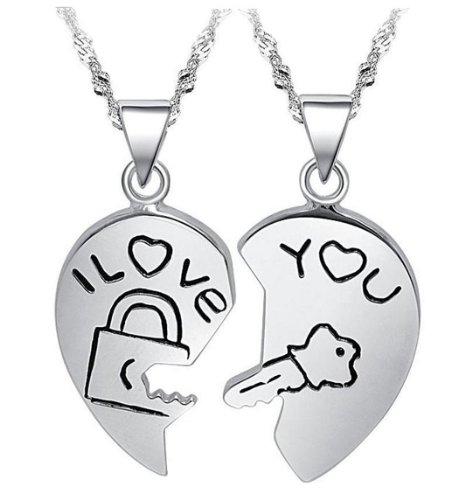 Infinite U Plata Esterlina 925 Corazón de 2 piezas Llave y Bloqueo de Amor Colgante Collar para Parejas Amazon.es Joyería