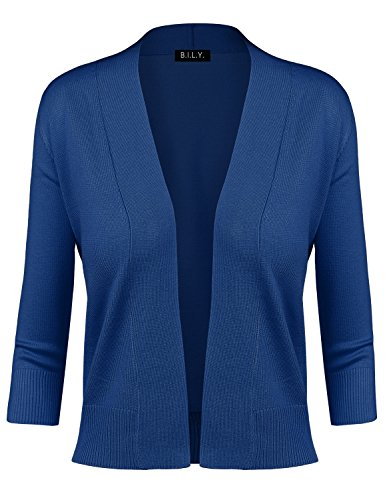 BILY Women's Classic Open Front Cropped Cardigan Cobalt Blue 2 Large