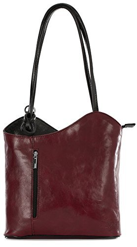 LiaTalia Womens Soft Lush Italian Leather Piping Detail Shoulder or Backpack Bag with Protective Storage Bag - Libby (Deep Red - Handbag Leather Deep Red