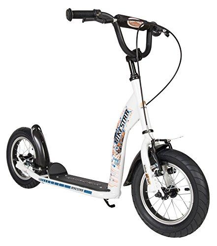 BIKESTAR Patinete infantil | Scooter para niños y niñas a partir de 6-7 años | Patineta 12″ Sport | Blanco