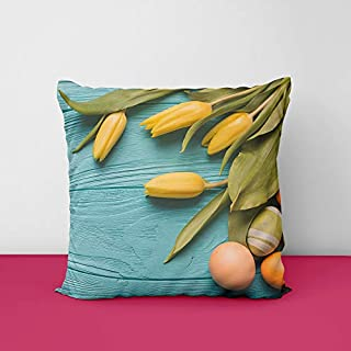 Flower Easter Eggs Wood Plank Square Design Printed Cushion Cover