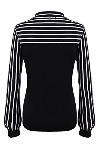 Women Tie-bow Neck Striped Long Sleeve Stretch Bowknot Shirt