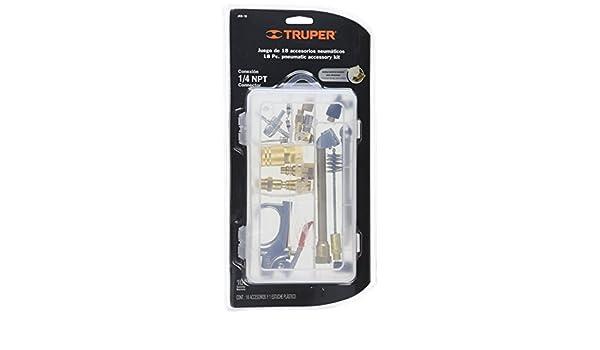 TRUPER Juego de 18 piezas pistola y accesorios 1/4 NPT para compresores de aire comprimido y neumática: Amazon.es: Bricolaje y herramientas