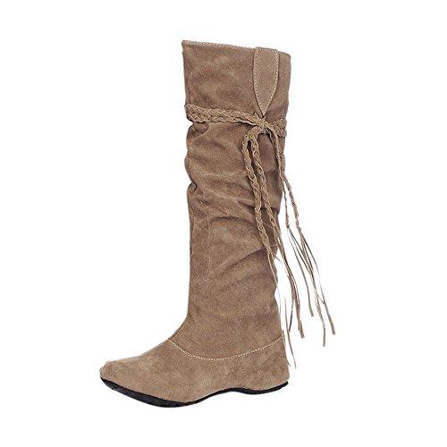 Sunnyuk Botas de Mujer, Botas de Invierno de Invierno para Mujer Vestido Tubo hasta la Rodilla Zapatos Planos: Amazon.es: Ropa y accesorios