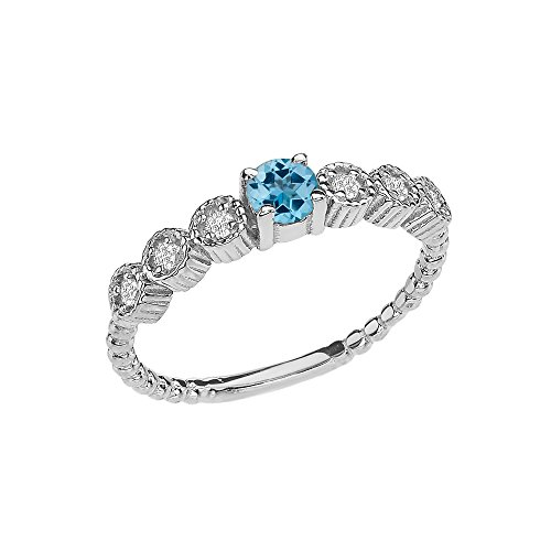 14k Diamond Stackable/Promise Beaded Popcorn Collection Ring in White Gold with Genuine Blue Topaz Center Stone (Size 6.5)