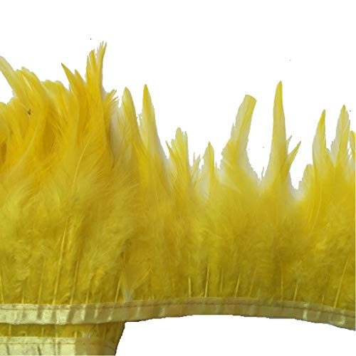 Trim Feather Boa (Shekyeon 2yards Rooster Hackle Feather Trim Dress Decoration(yellow))
