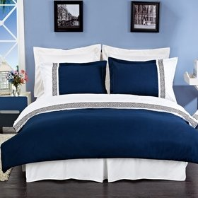 Luxurious 8 Piece Cal King Size Astrid Navy Blue & White Embroidered BED IN A BAG Set. Includes Duvet Cover Set + 100% Egyptian Cotton Bed Sheet Set + Down Alternative Comforter