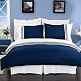 Luxurious 8 Piece King Size Astrid Navy Blue & White Embroidered BED IN A BAG Set. Includes Duvet Cover Set + 100% Egyptian Cotton Bed Sheet Set + Down Alternative Comforter