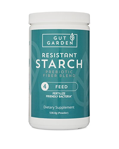 Gut Garden Resistant Starch Prebiotic Fiber Blend - Promotes Healthy Bacteria with Glucomannan, Inulin, Larch Arabinogalactan, Acacia Senegal and Raw Unmodified Potato Starch (30 Servings)