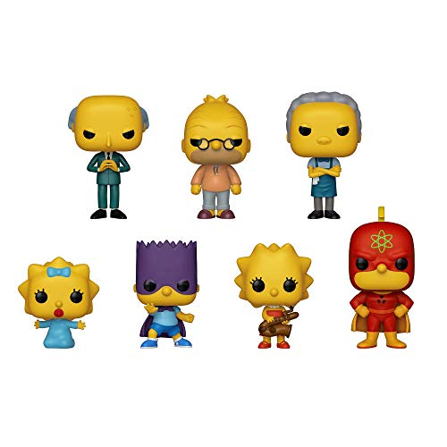 Funko Pop!: Simpsons Bundle of 7 - Homer Radioactive, Lisa with Saxophone, Bart as Bartman, Maggie, Grampa, Moe and Mr Burns