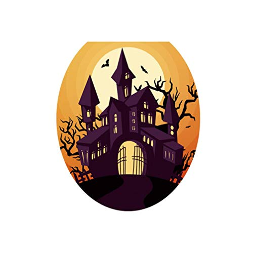 Hallowmas Decorations Creepy Toilet Seat Wall Sticker Decals Vinyl Wallpaper Removable (A)