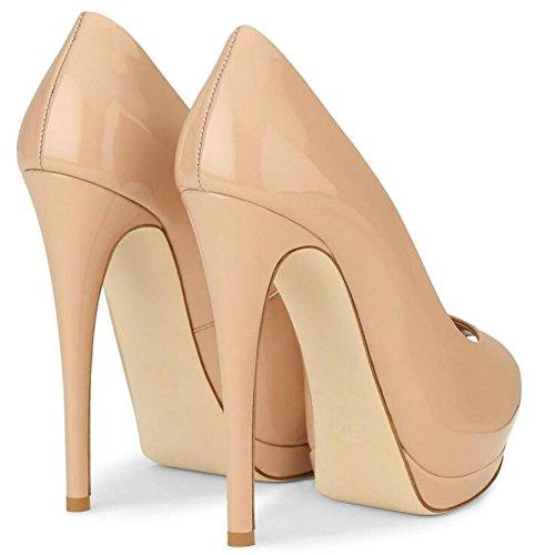 Grande Talons La Shoes Plateforme apricot Taille éTanche YC Poisson De Bouche Patent L Femme Miroir Hauts Peeps De Toe Leather 5IpSPwUq