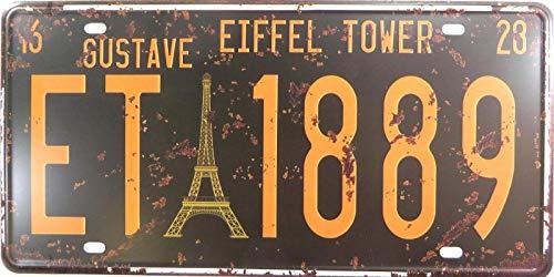 AllPrints ShopForAllYou Decor Signs Eiffel Tower ET 1889 License Plate tin Sign bar Decor