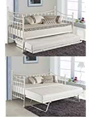 KOSY KOALA VERSAILLES GLOSSY VANILLA DAYBED WITH UNDER BED TRUNDLE 3FT SINGLE DAY BED FRAME