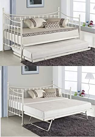 Day Bed.Kosy Koala Versailles Glossy Vanilla Daybed With Under Bed Trundle 3ft Single Day Bed Frame