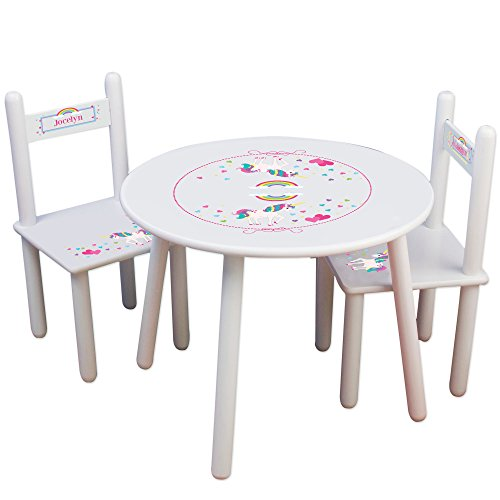 Personalized UnicornChildrens White Table and Chair Set -