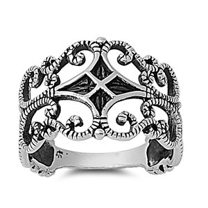 14mm Sterling Silver Filigree Style Design Ring