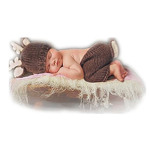 Newborn Boy Girl Baby Photography Props Outfits Deer Hat Pants Photo Shoot Clothes -