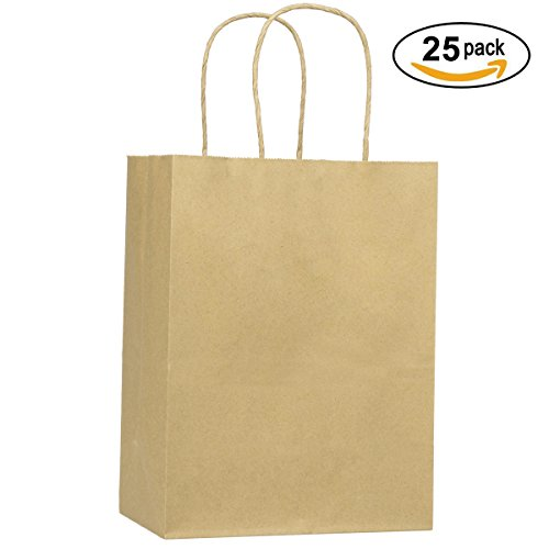 Shopping Bags 8x4.75x10.5' 25Pcs BagDream Gift Bags,Cub, Paper Bags, Kraft Bags, Retail Bags, Brown Paper Bags with Handles 100% Recyclable Paper