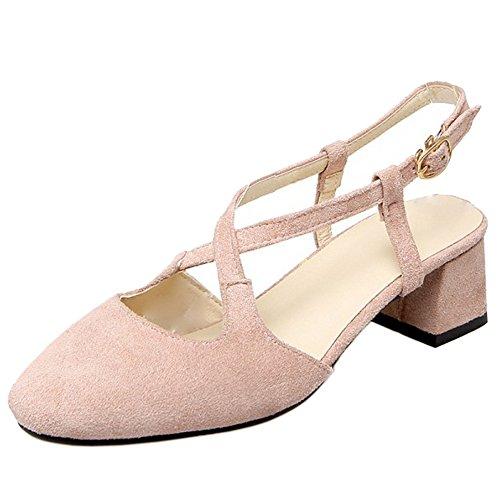 TAOFFEN Mujer Cruzado Correa de Tobillo Slingback Sandalias Tacon Medio Ancho Zapatos Rosado