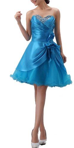Diamond Blue Strapless Layered Short Sweet Prom Dresses (US 6)