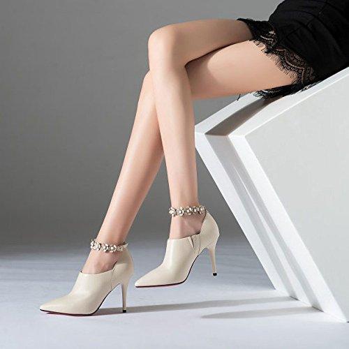 Femmes Beige Cuir en Aiguilles Talons pour Pointues Chaussures Profondes Chaussures I6v7P