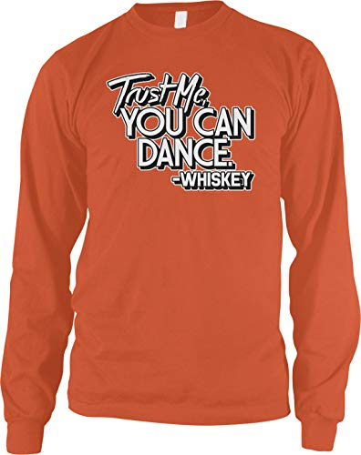 Amdesco Men's Trust Me You Can Dance, Whiskey Long Sleeve Shirt, Orange Large