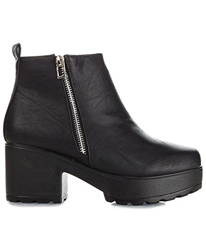 RF ROOM OF FASHION Women's Vegan Slip On Side Zipper Round Toe Lug Platform Ankle Booties - stylishcombatboots.com
