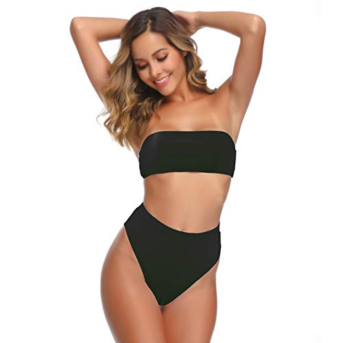 (GEMAN Women's Sexy High Waisted Bandeau Bikini Sets Two Piece Swimsuit Bathing Suit (Black, M))