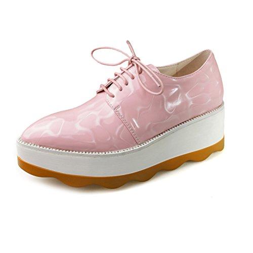 zapatos de moda de la primavera/Puntiagudo de charol con cordones zapatos de plataforma/circular con zapatos casuales suela gruesa B