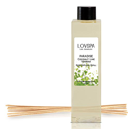 LOVSPA Paradise Coconut Lime Verbena Reed Diffuser Oil Refill with Replacement Reed Sticks | Tropical Blend of Lemon Verbena, Fresh Limes & Coconut, 4 oz | Made in The USA