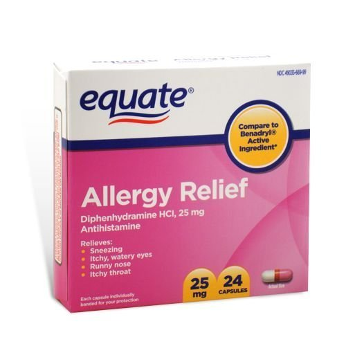 ief, Diphenhydramine 25 mg, 24 Capsules (Compare to Benadryl) by Equate (Allergy Relief Capsules)