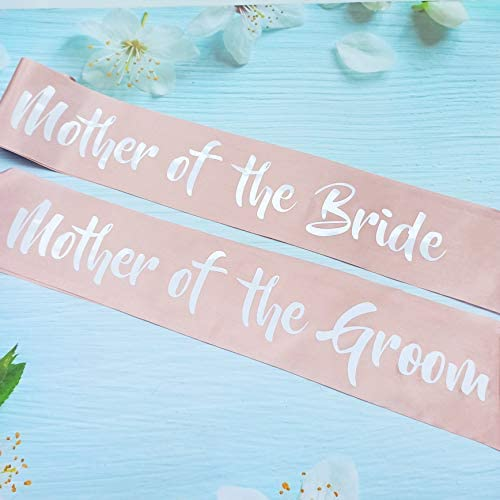 Mother of The Bride and Mother of The Groom Sash Set, Bachelorette Party Sashes, Bridal Shower Supplies, Wedding Accessories for Bride, Groom to Be's Mothers