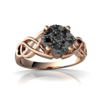 Pavé Black Diamond 14ct Rose Gold Ring - Size R: Jewels For