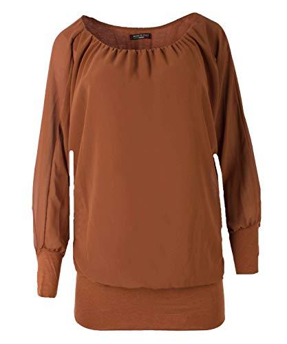 FASHION YOU WANT Damen Oversize Oberteile Tshirt/Pullover Größe 34 bis 50 Uni mit Stern Anker Rosen Print Übergrößen Shirt Langarm T-Shirt Kurzarm