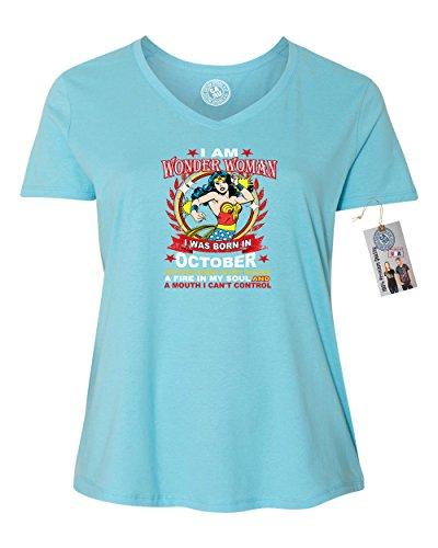 Wonder Woman Born in October Superhero Plus Size Womens V Neck T-Shirt Blue 4XL -