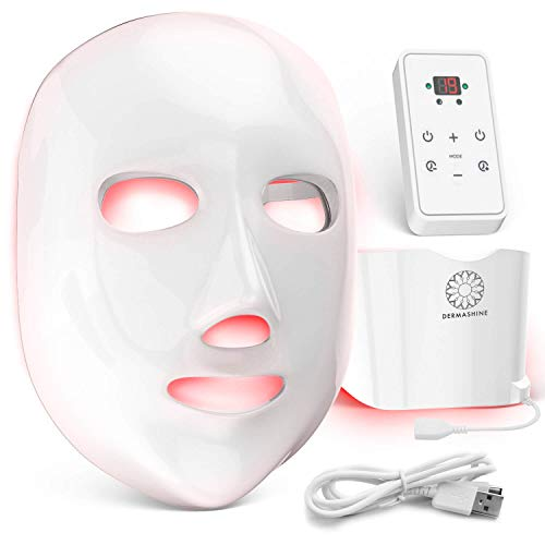 Dermashine Pro 7 Color Wireless LED Face Mask with Neck Attachment | Photon Red Light Therapy For Healthy Skin Rejuvenation | Collagen, Anti Aging, Wrinkles | Korean Skin Care, Facial Skin Care Mask ()