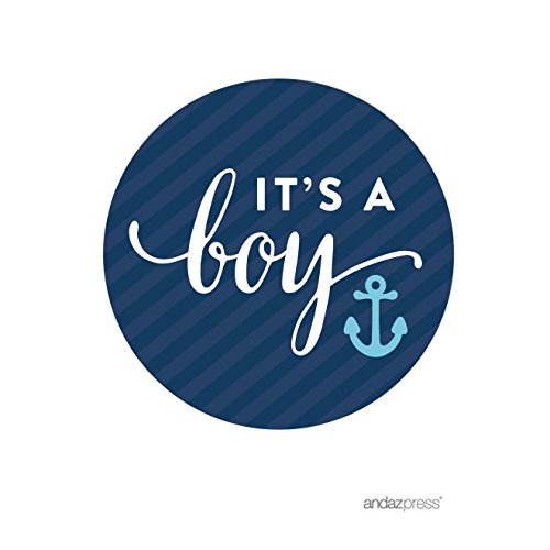 Andaz Press Nautical Baby Shower Collection, Round Circle Labels Stickers, Party & Co, It's a Boy!, 40-pack, For Ocean Sailor Bon Voyage Adventure Themed Party Favors, Gifts, Decorations