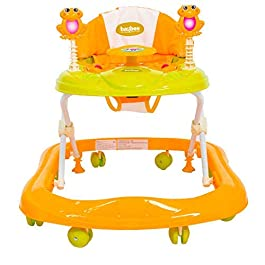 BAYBEE Smart Witty Plastic Round Baby Walker Ultra Soft Seat-Activity and Wheel with Adjustable Height and Musical Bar…