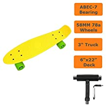 "Raptor (TM) SKATEBOARD RETRO BANANA SKATE BOARD 22"" DECK With PU WHEELS (Yellow on Green)"