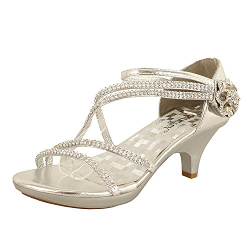 Delicacy Womens Strappy Rhinestone Dress Sandal Low Heel Shoes Heeled Sandals, 48Silver, 9