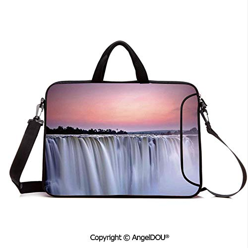 AngelDOU Neoprene Laptop Shoulder Bag Case Sleeve with Handle and Extra Pocket Grand Majestic Waterfalls View at Sunset in Africa Wild Mist Exotic Land Photo Compatible with MacBook/Ultrabook/HP/Ace